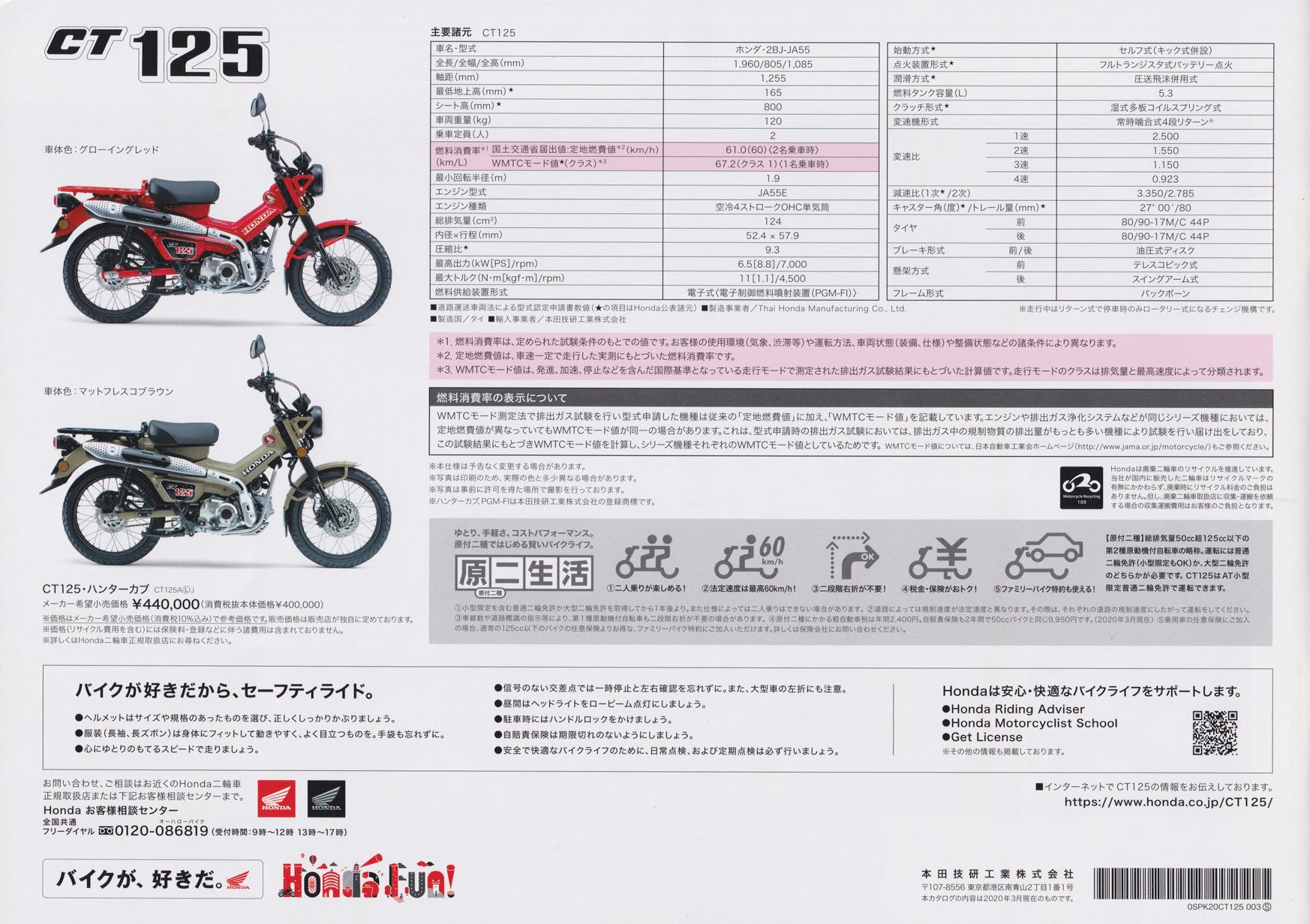 新型ハンターカブ(CT125)本体カタログ